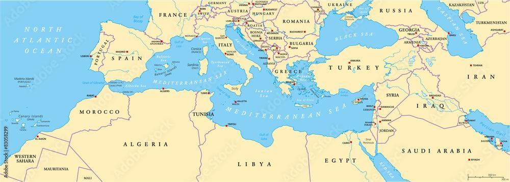 Plakat Mapa Polityczna Basenu Morza Srodziemnego Wally24 Pl