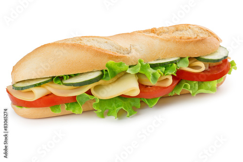 Fotobehang Snack sandwich with cheese, tomato, cucumber and lettuce
