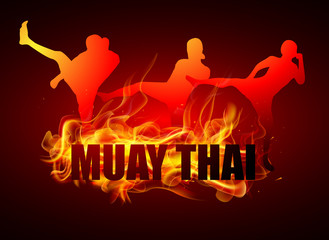 Fototapeta Sztuki walki kicking thai boxing postures with muay thai fire typo