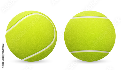 Obraz na plátně Closeup of two vector tennis balls isolated on white background.