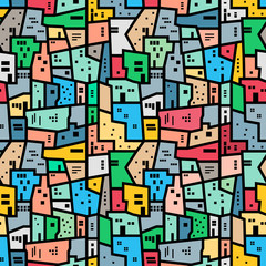 FototapetaBrazilian favela. Bright colored seamless pattern.