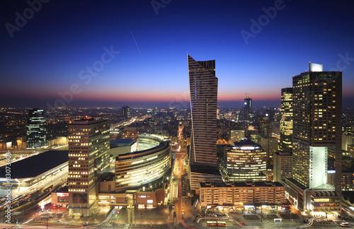 Fototapety, obrazy: Warsaw city center at sunset