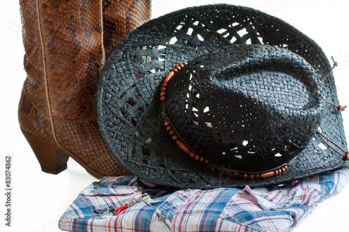Photo sur Toile Vache Chapeau, botte, chemise, danse country