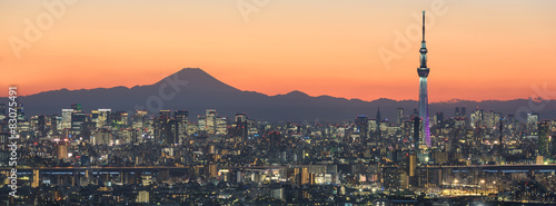 Photo Stands Japan Tokyo cityscape and Mountain fuji in Japan