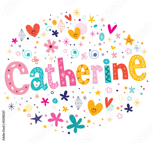 Fotografía  Catherine girls name decorative lettering type design