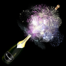 Opened Bottle Of Champagne With Giant Fireworks.