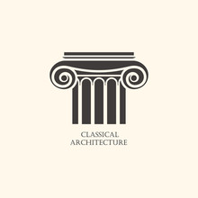 Classical Column Architecture Element. Logo Concept For Construc