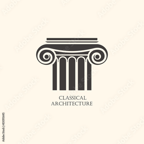 Classical column architecture element. Logo concept for construc Wallpaper Mural