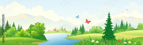 Fotobehang Wit Mountain scenic banner