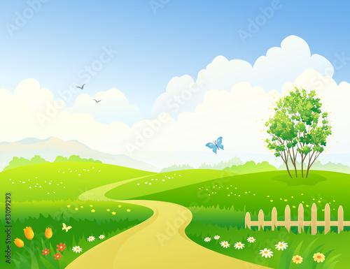Tuinposter Blauwe hemel Spring pathway