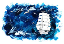 Painted Blue Background With Ship And Gulls