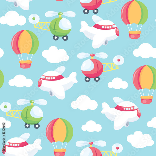 Deurstickers Magische wereld Come Fly With Me Seamless Pattern Background