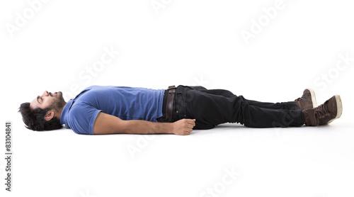 Fotografie, Obraz  Indian man lying on floor.