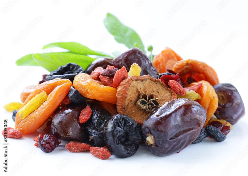 Assorted dried fruits (raisins, apricots, figs, goji)