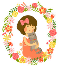 Cartoon Girl Hugging A Cat In A Vintage Style Floral Frame