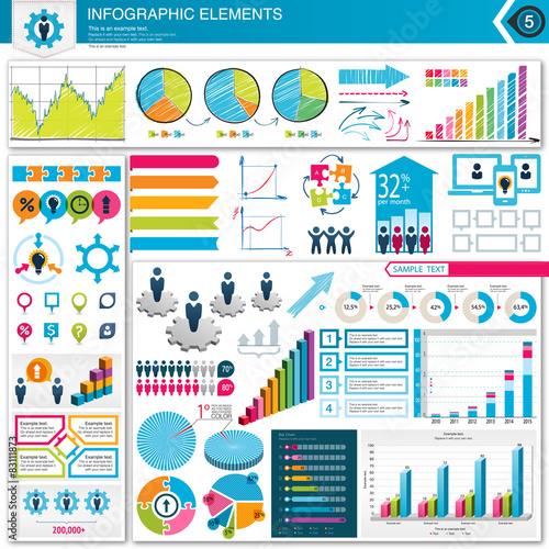 Fotografie, Tablou  Infographic Elements Team