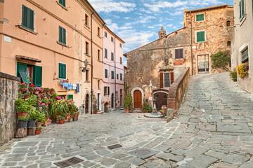 Fototapeta old town Castagneto Carducci, Tuscany, Italy