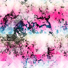 Pink Grunge Geometric Pattern.