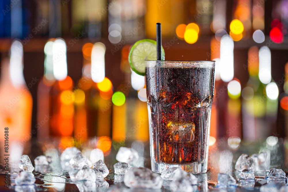 Fotografie, Obraz Glass of cola on bar desk