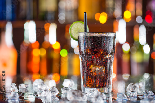 Glass of cola on bar desk Canvas