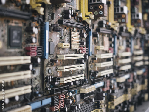 Fototapety, obrazy: Circuit board pattern with dirty and old condition close up