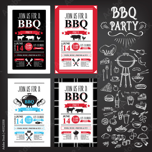 Fotografía  Barbecue party invitation. BBQ template menu design. Food flyer.