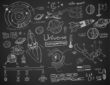 Universe Infographics Element With Hand Drawn Sketches