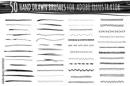 Set of art and pattern brushes Canvas Print