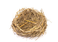 Empty Straw Nest With Twigs On A White Background