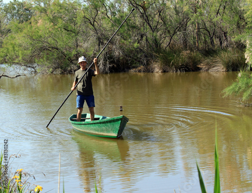 homme batelier barque marais Slika na platnu