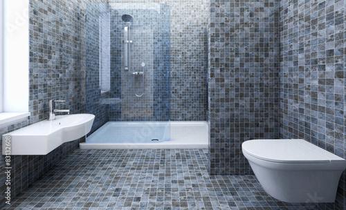 Stanza da bagno con doccia u kaufen sie diese illustration und