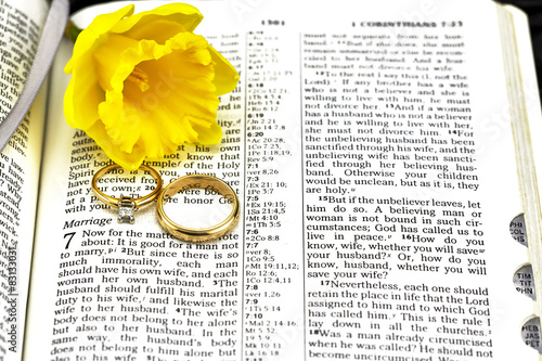 Fotografie, Tablou  Closeup focus on wedding rings and flower on bible