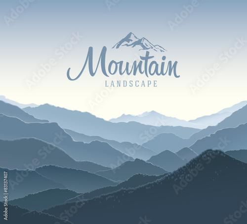 Fototapeta Mountain panoramic landscape. And the elements of the logo. obraz na płótnie