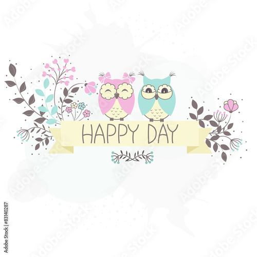 Poster Uilen cartoon Beautiful pattern card with owls and flowers