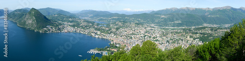 Panorama of the Gulf of Lugano from Mount Bre - 83144688