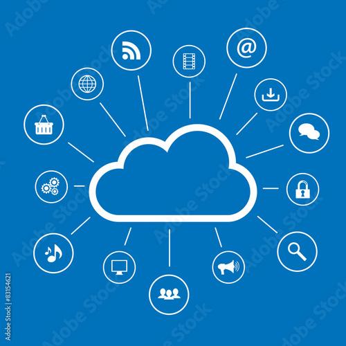 Cloud computing and social media icons
