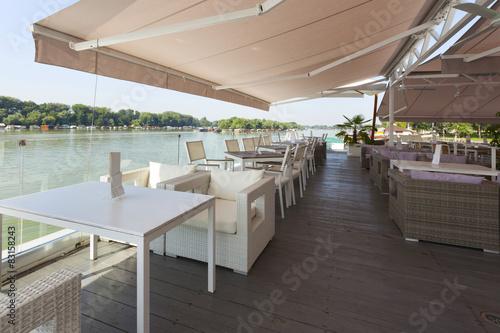 Fotografie, Obraz  Modern riverside cafe terrace