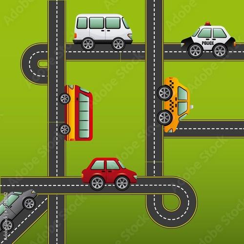 Poster de jardin Route road highway