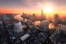 Bangkok City Sunlight Warm Ora...