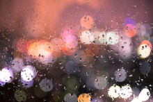 Bokeh Light With Rain, Background Cityscape, View Form Windows, Drop Of Water And Bokeh,