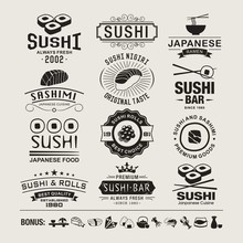 Sushi Design Elements, Logos, Badges, Label And Icons.