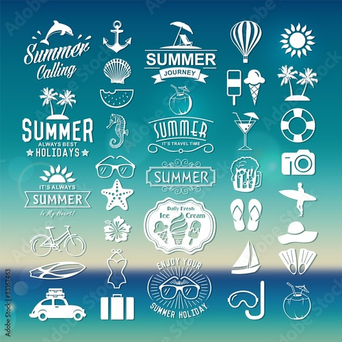 Photo  Summer design elements, logos, labels and icons