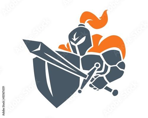 Vászonkép knight sword shield logo image vector
