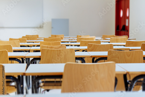 Fotografie, Tablou  Desk and chairs in classroom