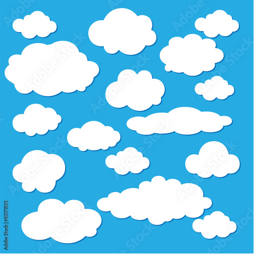 Poster Ciel Vector of clouds collection