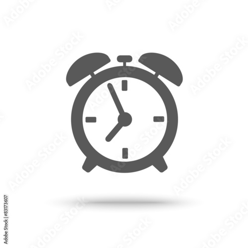 Photo Grey alarm clock icon isolated