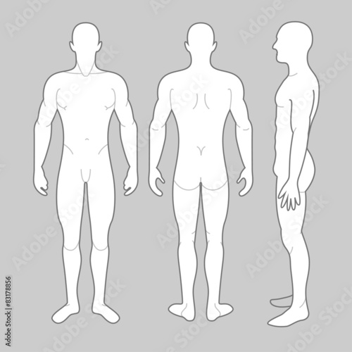 Mans Body, front, back and side views