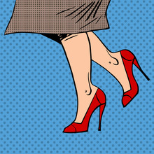 Female Legs In Red Shoes Woman...