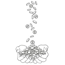 Hands And Coins Money Doodle