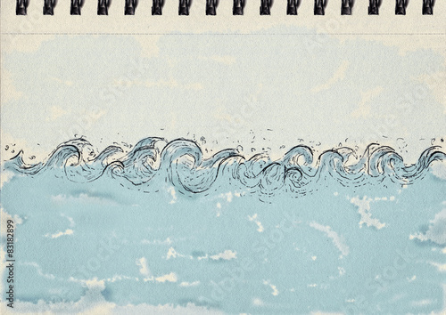 Foto op Plexiglas Abstract wave Waves, ink and watercolor, notebook artwork